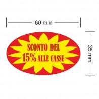 Etichette adesive Sconto del 15% alle casse misure in rotolo