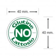 No Glutine Lattosio misure etichette adesive in bobine
