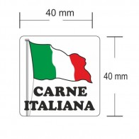Carne Italiana 40 x 40 Misure Etichette adesive in bobine
