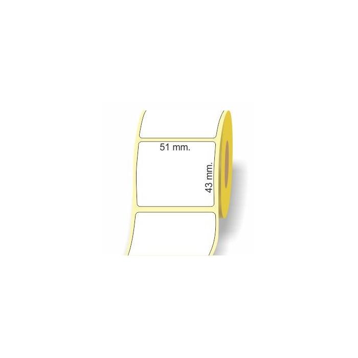 Etichette adesive in bobina 51 x 43 mm. 3d carta termica diretta