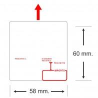 Etichette adesive in bobina 58 x 60 mm. misure peso prezzo termica