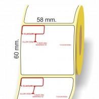 Etichette adesive in bobina 58 x 60 mm. 3d peso prezzo termica