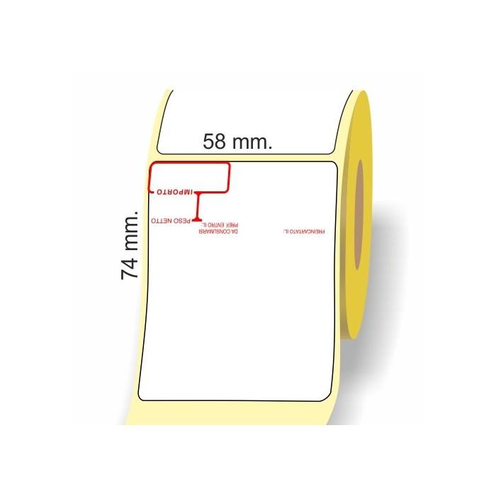 Etichette adesive in bobina 58 x 74 mm. 3d peso prezzo termica