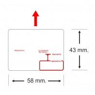 Etichette adesive in bobina 58 x 43 mm. misure peso prezzo termica