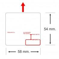 Etichette adesive in bobina 58 x 54 mm. 3d peso prezzo termica
