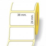 Etichette adesive in bobina 38 x 24 mm. 3d carta termica diretta