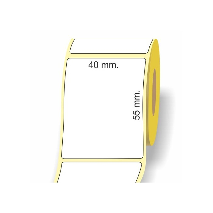 Etichette adesive in bobina 40 x 55 mm. 3d carta termica diretta