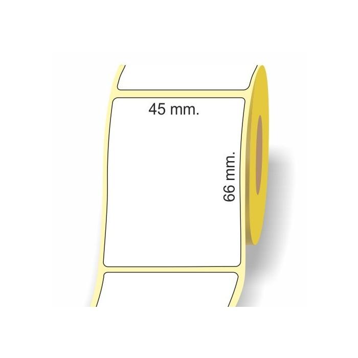 Etichette adesive in bobina 45 x 66 mm. 3d carta termica diretta