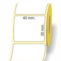 Etichette adesive in bobina 40 x 30 mm. 3d carta termica diretta