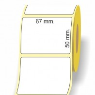 Etichette adesive in bobina 67 x 50 mm. 3d carta termica diretta