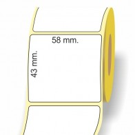 Etichette adesive in bobina 58 x 43 mm. 3d carta termica diretta
