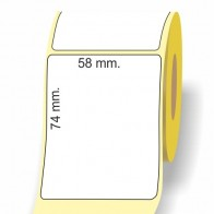 Etichette adesive in bobina 58 x 74 mm. 3d carta termica diretta