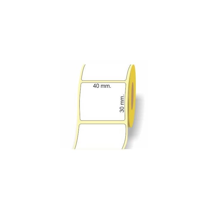 Etichette adesive in bobina 40 x 30 mm. 3d carta vellum