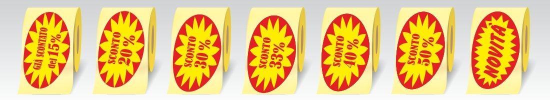 Etichette adesive ovali in carta patinata da 80 gr.