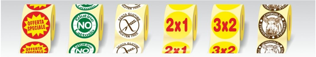 Etichette adesive Tonde in carta patinata da 80 gr.