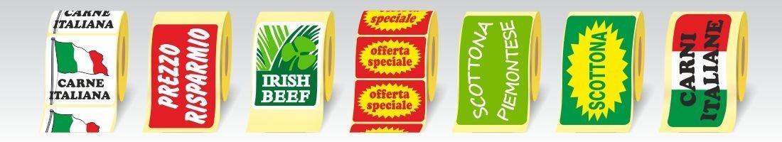 Etichette adesive rettangolari in carta patinata da 80 gr