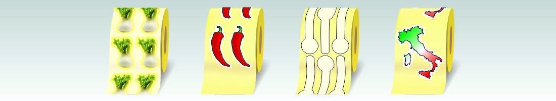 Etichette adesive sagomate in carta patinata da 80 gr.