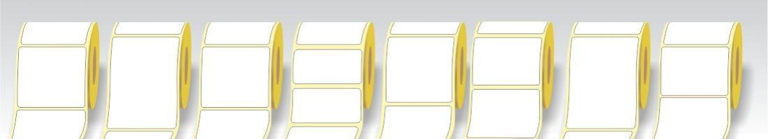 Etichette adesive Vellum in bobina diametro anima da 40 mm.